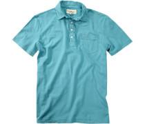 Herren Polo-Shirt Baumwoll-Jersey türkis blau
