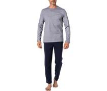 Schlafanzug Pyjama Baumwolle marine-weiß