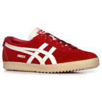 Herren Schuhe Sneaker Veloursleder rot-weiß