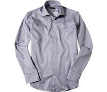 Herren Hemd, Regular Fit, Twill, grau-weiß gestreift