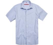 Herren Hemd, Classic Fit, Popeline, blau kariert