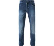 Herren Jeans, Baumwoll-Stretch, blau
