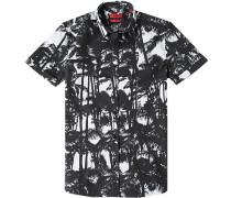 Herren Hemd, Slim Fit, Chambray, schwarz-weiß gemustert