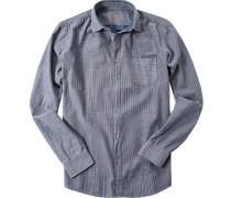 Herren Hemd Baumwolle blau-dunkelrot gemustert
