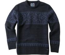 Herren Pullover Schurwoll-Mix nachtblau gemustert