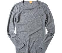Herren T-Shirt Longsleeve Slim Fit graphit meliert grau