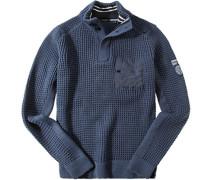 Herren Pullover Troyer Woll-Mix dunkelblau