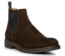 Herren Schuhe Chelsea Boots, Veloursleder, dunkelbraun
