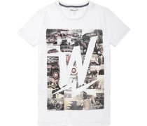 Herren T-Shirt, Slim Fit, Baumwolle, weiß