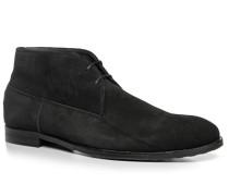 Herren Schuhe Desert Boots, Veloursleder, schwarz