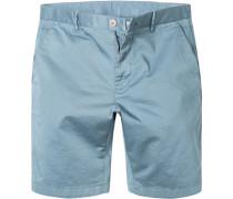 Herren Hose Bermudashorts Modern Fit Baumwolle taubenblau