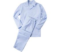 Herren Schlafanzug Pyjama, Baumwolle, hellblau gestreift