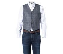 Herren Anzug Weste Schurwoll-Mix grau-blau gemustert blau,grau