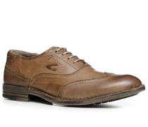 Herren Schuhe Brogue Leder cognac braun