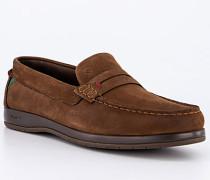 Schuhe Slipper Leder wasserabweisend walnuss