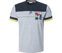 T-Shirt Baumwolle hell-navy meliert