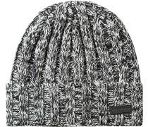 Herren Mütze Schurwolle schwarz-weiß meliert