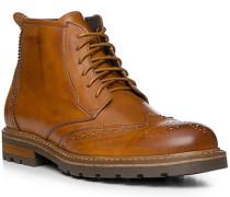Herren Schuhe Schnürstiefeletten, Kalbleder, cognac braun