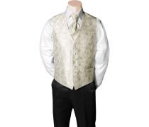 Herren Anzug Weste Slim Fit Microfaser creme-wollweiß gemustert beige