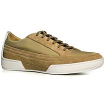Herren Schuhe Sneaker, Veloursleder-Mesh, beige