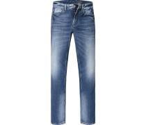 Herren Jeans Shaped Fit Baumwoll-Stretch denim blau