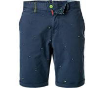 Hose Shorts Baumwolle navy gemustert