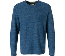Herren Pullover, Baumwolle, blau meliert