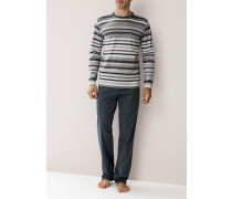 Herren Schlafanzug Pyjama, Baumwolle, grau