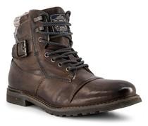 Schuhe Schnürstiefeletten Leder dunkel