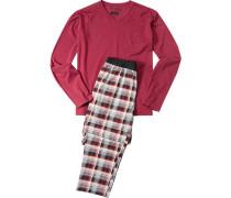 Herren Schlafanzug Pyjama Baumwolle chianti-ecru kariert rot