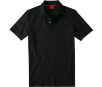 Herren Polo-Shirt, Body Fit, Baumwoll-Piqué, schwarz