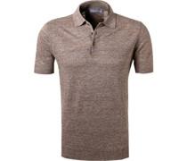 Polo-Shirt Leinen-Strick hell meliert