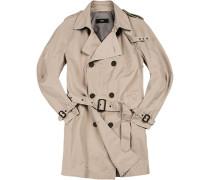 Herren Mantel Trenchcoat, Slim Fit, Baumwolle, beige