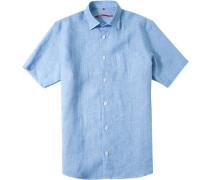 Herren Leinenhemd Classic Fit himmelblau meliert