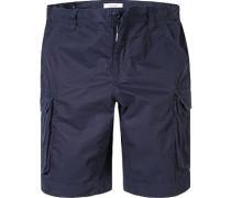 Herren Hose Cargoshorts, Baumwolle, navy blau
