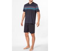 Herren Schlafanzug Pyjama Baumwolle navy gestreift blau