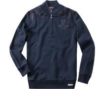 Herren Pullover Troyer, Baumwolle, marine blau