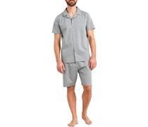 Schlafanzug Pyjama Baumwolle hell