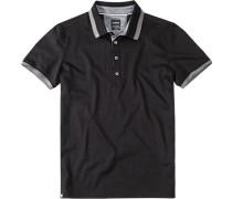 Herren Polo-Shirt, Slim Fit, Baumwoll-Jersey, schwarz
