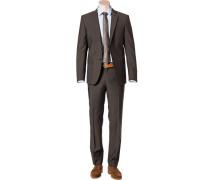Herren Anzug, Modern Fit, Schurwolle, braun meliert