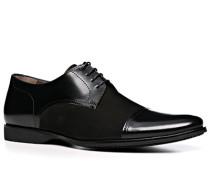 Herren Schnürschuhe, Glatt-Veloursleder, schwarz
