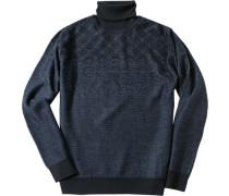 Herren Pullover Woll-Mix navy- gemustert