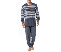 Herren Schlafanzug Pyjama, Baumwolle, blau-grau gestreift