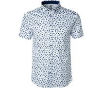 Kurzarmhemd Jersey -blau gemustert