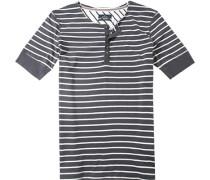 Herren T-Shirt Baumwolle navy-weiß gestreift blau