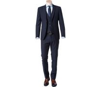 Herren Anzug mit Weste Slim Fit Schurwolle Super100 nachtblau