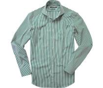 Herren Hemd Shaped Fit Baumwolle grün-weiß gestreift grün,weiß