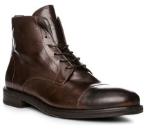 Herren Schuhe Schnürstiefeletten, Leder, testa di moro braun