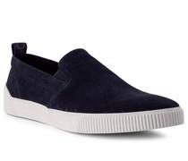 Schuhe Slipper Veloursleder-Textil dunkel
