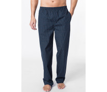 Herren Pyjamahose Baumwolle marine-grau gemustert blau